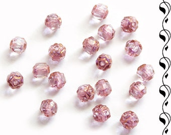 40 Cathedral Fire-Polished Beads 4 mm Light Lilac