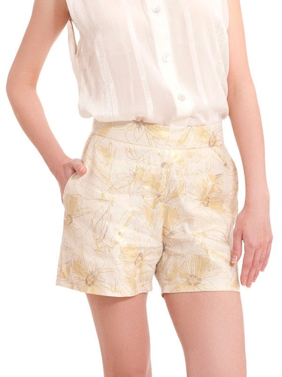 Clearance SALE , Cream with Gold floral print shorts, short pants, High waisted shorts