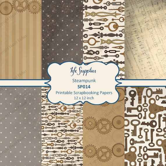 steampunk scrapbooking paper cogs keys and clock hands in