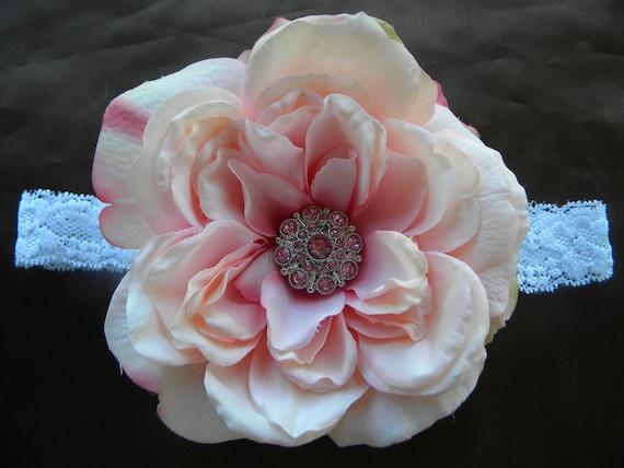 Pink flower headband,light pink headband, large flower headband, baby headband, girl headband, flower girl headband, baby pink headband