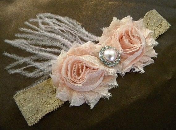 Blush vintage pink shabby chiffon headband- feathers-lace headband-flower , shabby headband, any size, newborn, baby flower girl, photo prop
