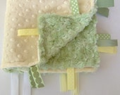 Minky dot Lovey in Pastel Yellow and Sage - the perfect Gender Neutral gift -