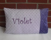 Lavender and Purple Minky dot Toddler / Travel Pillow by The Sleeping Babe
