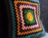 Vintage 1970s Dual Patterned Crochet Cushion