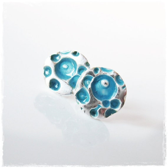 Bubbles Studs in Fine Silver with Turquoise Enamel Accents on Sterling Silver Posts