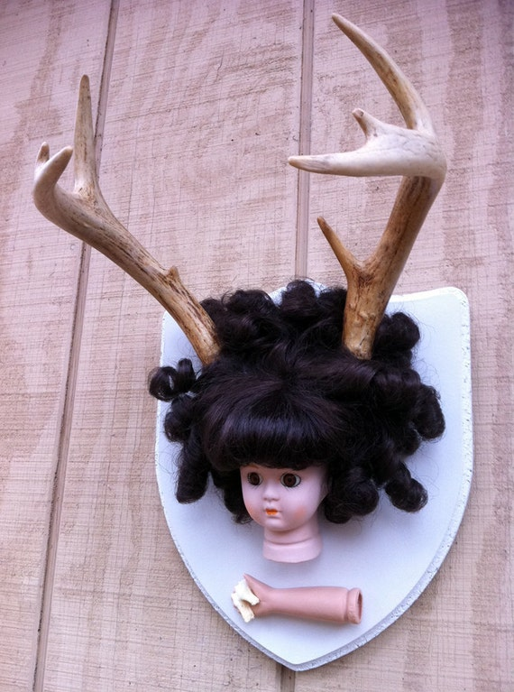 Deer Dolly: Rogue Taxidermy Wall Mount with Brown Eyes and Brunette Banana Curls - Real Deer Antlers & Tooth