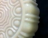Lovely Vintage Ornate Scalloped Milk Glass Candy Dish