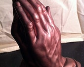 Beautiful 1960s Ceramic Copper Praying Hands