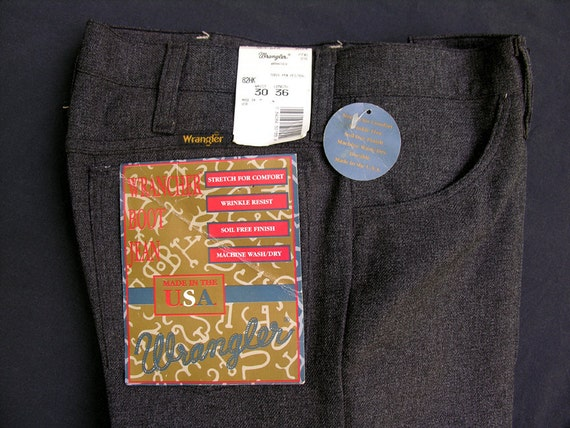 SALE: Heather Charcoal - NOS Wrangler Wrancher Regular Fit Boot Cut Stretch Dress Jeans 30x36