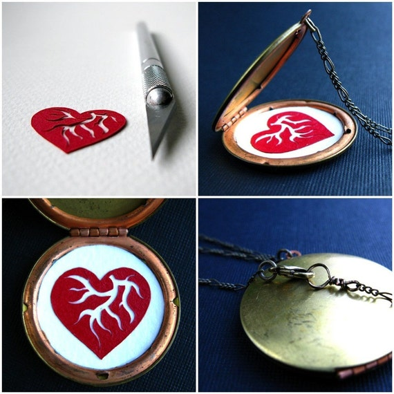 heart. secret locket papercut necklace. by baltica and papercutworks
