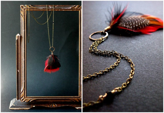 feather necklace. LAST ONE. fire red. delicate wire wrapped feather pendant and brass chain. long necklace by baltica