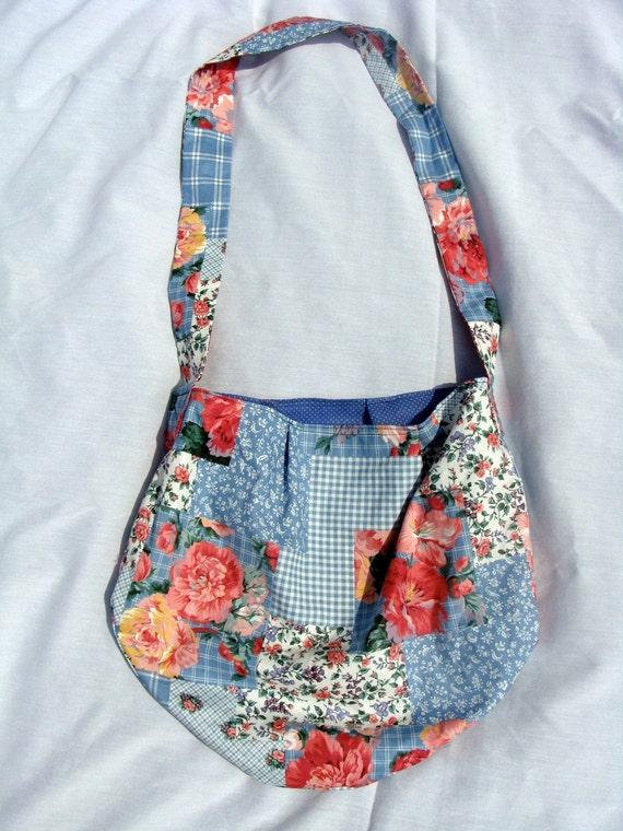 Patchwork Picnic Reversible Hobo Tote Bag