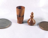 Dolls House Miniatures Yew Wood Turned Lidded Container/Vase