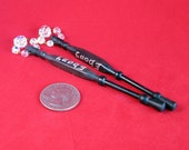 Pair Of Ebony Midlands Lace Bobbins With Spangles