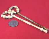 Pair of Yew Spangled Midlands Lace Bobbins Lacemaking