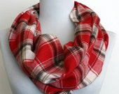 Plaid Flannel Infinity Scarf in red and white