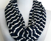 Infinity Scarf in Navy Blue and White Stripes Stretch Jersey