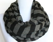Infinity Scarf in Black and Dark Gray Stripes Jersey- Extra Wide, Loop Scarf, Eternity Scarf, Chunky Circle Scarf