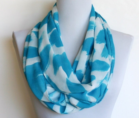 Infinity Scarf in Turquoise and White