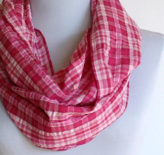Infinity Scarf (Loop Scarf) In Pink Plaid Seersucker, Circle Scarf, Eternity Scarf