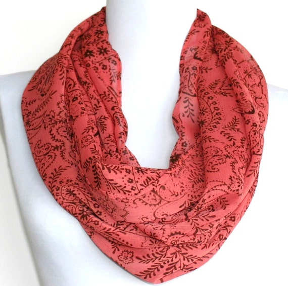 Infinity Scarf in Coral and Brown Floral Chiffon