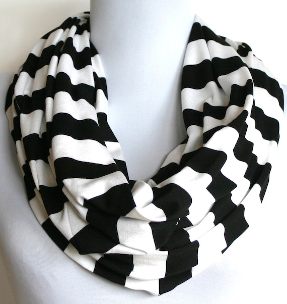 Infinity Scarf in Black and White Stripes Jersey, Loop Scarf, Eternity Scarf, Circle Scarf