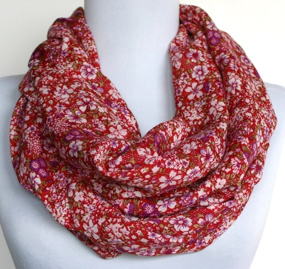 Infinity Scarf in Red with White and Purple Floral Print, Loop Scarf, Eternity Scarf, Circle Scarf