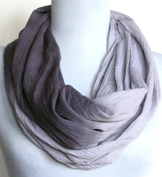 Infinity Scarf in Shades of Lilac Crinkled Cotton Gauze