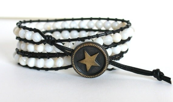 Ivory White Beads Leather Wrap Bracelet, Triple Wrap Bracelet