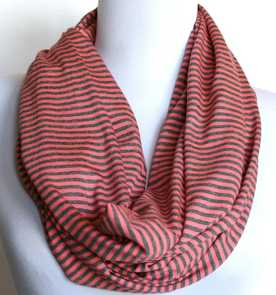 Infinity Scarf in Charcoal Gray and Coral Mini Stripes Stretch Jersey, Loop Scarf, Eternity Scarf, Circle Scarf