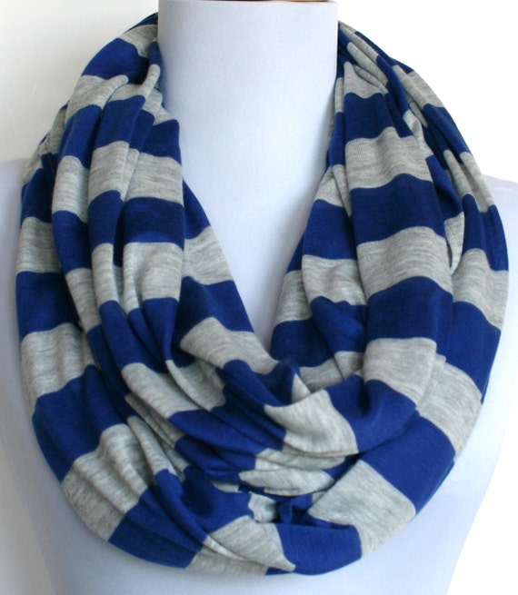 Striped Infinity Scarf in Royal Blue and Heather Gray Jersey, Eco Friendly, Circle Scarf, Eternity Scarf, Loop Scarf