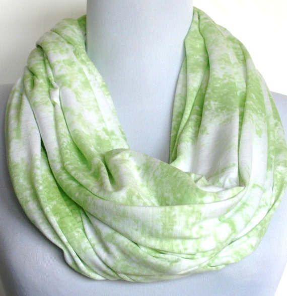Infinity Scarf: Lime Green and White Burnout Jersey, Loop Scarf, Eternity Scarf, Circle Scarf