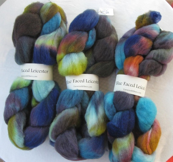 "Blue Faced Leicester BFL Wool Roving Hand Dyed 4oz ""Happy Place"" BFL7"