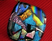 FUSED DICHROIC GLASS PENDANT MOSAIC - Fused Dichroic Glass Pendant Jewelry by FusedGlassbyGinger on Etsy
