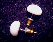 Small PURE WHITE Fused Glass Post Earrings from FusedGlassbyGinger