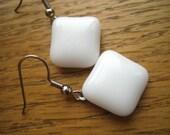 White Square Fused Glass Dangle Earrings from FusedGlassbyGinger