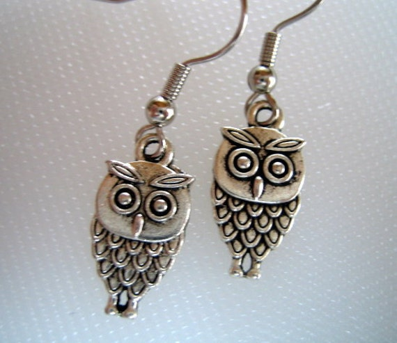TIBETAN SILVER OWL Earrings from Fused Glass by Ginger
