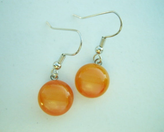 FUSED GLASS Orange and Tangerine Colored Dangle Earrings - Fused Dichroic Glass Jewelry by FusedGlassbyGinger on Etsy