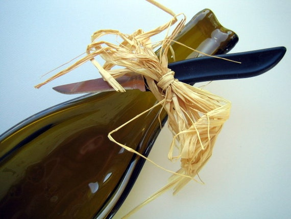 RECYCLED Brown Olive Green SLUMPED BOTTLE Cheese Tray, Slumped Plate, Spoon Rest with Cheese Knife