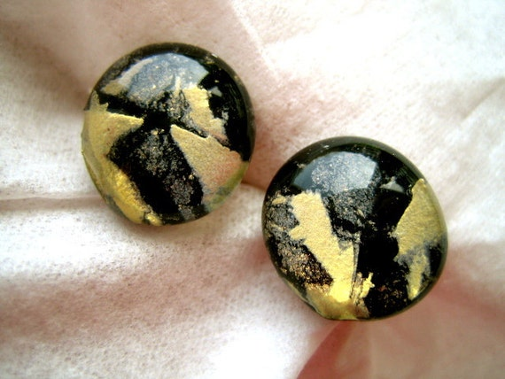 BLACK with a SPLASH of GOLD Dichroic Fused Glass Post Earrings - Stud Earrings