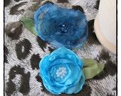 True Blue Two Hair Flower Clips