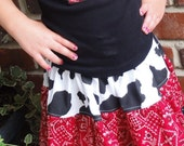 WESTERN SKIRT WITH APPLIQUED BOOT T-SHIRT  SIZE 4