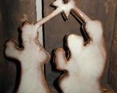 Christmas Ornament Ceramic Pottery The 3 Wisemen Nativity Handmade with cream and brown glaze