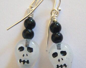 White glass skull earrings