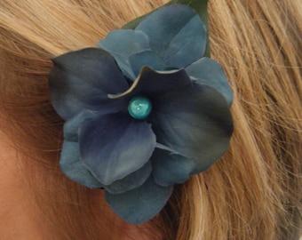 Blue OR purple hydrangea hair clip