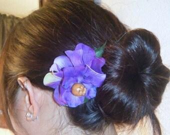 Purple hydrangea hair clip with wood skull