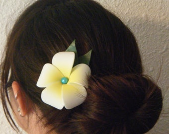 White plumeria with turquoise bead OR pink plumeria with pink bead hair clip