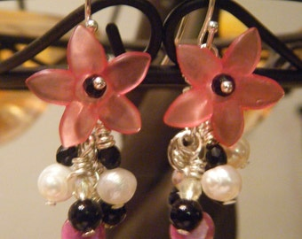 Pink plumeria earrings with dangling beads
