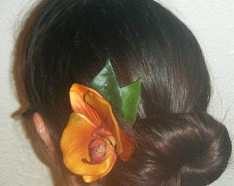 Tangerine orange OR all white orchid hair clip