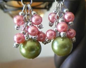 Pink and moss-green pearl cluster earrings